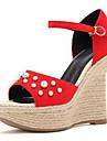 Mulheres Sapatos Camurca Primavera Verao D\'Orsay Sandalias Salto Plataforma Peep Toe Perolas / Presilha Preto / Vermelho