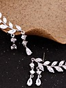 Pentru femei Zirconiu Cubic Franjuri Cercei Stud / Cățărătorii de urechi - Leaf Shape Simplu, Ciucure Auriu / Argintiu Pentru Petrecere / Cadou / Zilnic