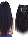 クリップ式 人間の髪の拡張機能 ストレート 人毛 人毛エクステンション ブラジリアンヘア ネイチャーブラック 7個 / パック 新参者 黒人女性用 女性用 ブラック