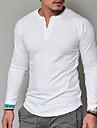 V-hals Herre - Ensfarvet Basale T-shirt Hvid XXL / Langærmet