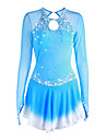 Figure Skating Dress Women\'s Girls\' Ice Skating Dress Pale Blue Halo Dyeing Spandex High Elasticity Competition Skating Wear Handmade Solid Colored Long Sleeve Ice Skating Figure Skating