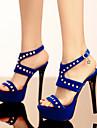 Kadın\'s Ayakkabı Süet İlkbahar yaz Sandaletler Stiletto Topuk Açık Uçlu Günlük / Ofis ve Kariyer için Perçin / Toka Siyah / Kırmzı / Mavi
