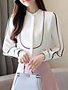 Mulheres Blusa Estampa Colorida Colarinho Chines Branco L