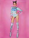 أزياء الرقص ملابس رقص غير مألوفة / نايت كلوب جمب سوت للمرأة أداء سباندكس نموذج / طباعة / كريستال / أحجار الراين كم طويل ارتفاع متوسط / قمصان الرضعثوب الراقص