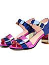 Damen Nappaleder Sommer Komfort Sandalen Blockabsatz Purpur / Blau