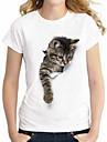 Mulheres Tamanhos Grandes Camiseta Basico / Moda de Rua Animal Algodao Gato Branco XXXXL / Verao