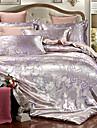 Seturi Duvet Cover Lux Poliester Jacquard 4 PieseBedding Sets / 400 / 4pcs (1 Plapumă Duvet, 1 Cearceaf Plat, 2 Shams)