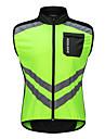 WOSAWE Hombre Sin Mangas Chaleco de Ciclismo - Verde Color solido Bicicleta Chalecos Paravientos Camiseta / Maillot Resistente al Viento Bandas Reflectantes Bolsillo trasero Deportes Polyster