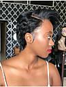 Cabelo Natural Remy Frente de Malha Peruca Corte Bob Corte em Camadas Parte lateral estilo Cabelo Brasileiro Ondulado Natural Liso Seda Peruca 130% Densidade do Cabelo com o cabelo do bebe Riscas
