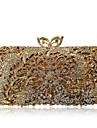 Γυναικεία Τσάντες Κράμα Βραδινή τσάντα Κρυστάλλινη λεπτομέρεια / Με Τρύπες Συμπαγές Χρώμα Χρυσό / Ασημί