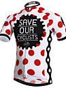 XINTOWN Ανδρικά Κοντομάνικο Φανέλα ποδηλασίας - Κόκκινο και Άσπρο Πουά Ποδήλατο Αθλητική μπλούζα Μπολύζες Αναπνέει Γρήγορο Στέγνωμα Υπεριώδης Αντίσταση Αθλητισμός Ελαστίνη Τερυλίνη Λίκρα