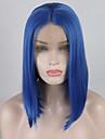 合成レースフロントウィッグ ストレート / ナチュラルストレート Minaj スタイル ミドル部 フロントレース かつら ブルー レイクブルー 合成 12-16 インチ 女性用 調整可 / 耐熱 / 弾性ある ブルー かつら ショート 180% 人間の毛髪密度