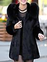 Γυναικεία Αργίες / Εξόδου Κομψό στυλ street / Εκλεπτυσμένο Άνοιξη / Φθινόπωρο & Χειμώνας Μακρύ Γούνινο παλτό, Μονόχρωμο Με Κουκούλα Μακρυμάνικο Ψεύτικη Γούνα Μαύρο XL / XXL / XXXL / Φαρδιά