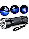 D12UV-1-0-2 LED Fenerler Siyah Işıklı Fenerler Avuçiçi Fenerleri LED 5mm Lamba 21 Emitörler 1 Işıtma Modu Su Geçirmez Ultraviyole Işık Kamp / Yürüyüş / Mağaracılık Günlük Kullanım Avlanma Mavi