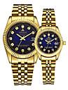 Par Armbåndsur guld ur Quartz Matching Hans og hende Guld 30 m Kalender Kreativ Analog Luksus Elegant - Guld
