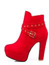 Γυναικεία Παπούτσια άνεσης Συνθετικά Φθινόπωρο & Χειμώνας Μπότες Επίπεδο Τακούνι Μαύρο / Κόκκινο
