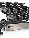 zosi® 8ch hd-tvi 720p dvr integre 1 hd hdd avec 8pcs hd