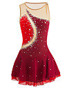 Figure Skating Dress Women\'s Girls\' Ice Skating Dress Burgundy Patchwork Elastane High Elasticity Competition Skating Wear Handmade Jeweled Rhinestone Sleeveless Ice Skating Figure Skating