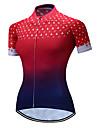 TELEYI Dames Korte mouw Wielrenshirt - Rood + blauw Gradient Fietsen Shirt Ademend Sneldrogend Sport Polyester Bergracen Wegwielrennen Kleding / Rekbaar / SBS ritsen