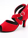 בגדי ריקוד נשים נעליים לטיניות סטן סנדלים / נעלי ספורט אבזם סלים גבוהה עקב מותאם אישית נעלי ריקוד שחור / אדום בהיר / כחול / הצגה / עור