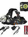 Headlamps LED Emitters 6000 lm 1 Mode with Charger with Batteries and Charger Zoomable Waterproof Rechargeable Camping / Hiking / Caving Everyday Use Diving / Boating Black