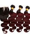 閉鎖した3つのバンドル ブラジリアンヘア ウェーブ レミーヘア人毛 人毛エクステンション 閉鎖が付いている毛横糸 10-24 インチ 人間の髪織り ソフト 最高品質 新参者 人間の髪の拡張機能 女性用