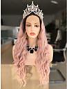 Synthetische Lace Front Peruecken Wellen Schwarz Stufenhaarschnitt Schwarz / Rosa 130% Human Hair Dichte Synthetische Haare 24 Zoll Damen Damen / Gefaerbte Haarspitzen (Ombré Hair) Schwarz / Rosa