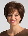 Human Hair Capless Parykker Ekte haar Naturlig rett Bobfrisyre Stilig Design / Lett dressing / Bekvem Brun Kort Lokkloes Parykk Dame / Naturlig haarlinje
