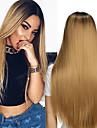 Synthetische Peruecken Glatt Stil Kappenlos Peruecke Blond Rotblond Synthetische Haare Damen Gefaerbte Haarspitzen (Ombré Hair) / Afro-amerikanische Peruecke Blond Peruecke Lang Natuerliche Peruecke