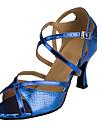 בגדי ריקוד נשים נעליים לטיניות PU עקבים עקב רחב מותאם אישית נעלי ריקוד כסף / אדום / נייבי