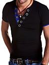 V-hals T-skjorte Herre - Ensfarget Hvit L