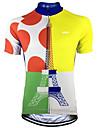 Malciklo Heren Korte mouw Wielrenshirt - Blauw + geel Polka dot Fietsen Shirt Kleding Bovenlichaam Sneldrogend Zweetafvoerend Sport Teryleen Bergracen Wegwielrennen Kleding / Micro-elastisch