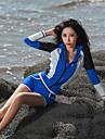 Dame Rashguard Badedragt UV Solbeskyttelse Åndbart Påførelig Heldækkende Badetøj Strand Tøj Badetøj Patchwork Forside Lynlås 3 stk Svømning Dykning Vandsport / Elastisk