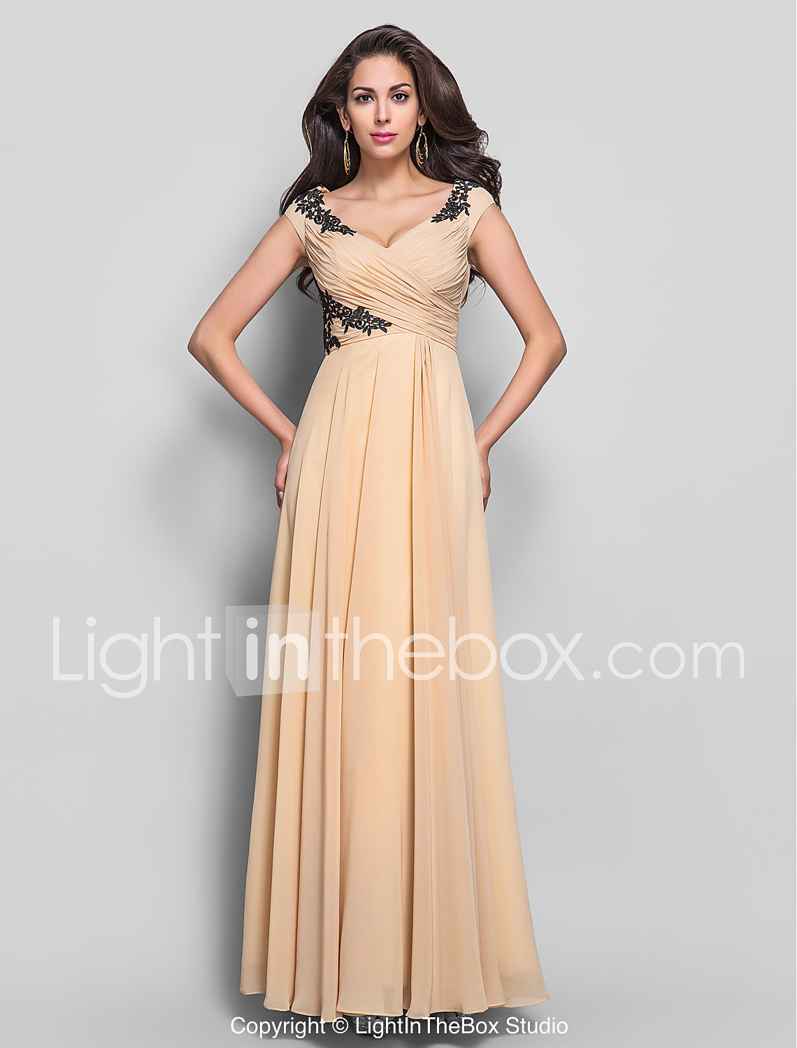 Sheath / Column V Neck Floor Length Chiffon Formal Evening ...