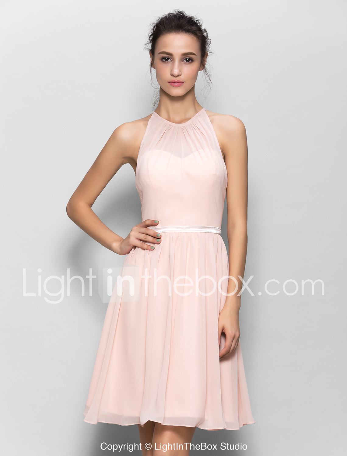 A line jewel neck knee length georgette bridesmaid dress with sash photo by lightinthebox ombrellifo Images