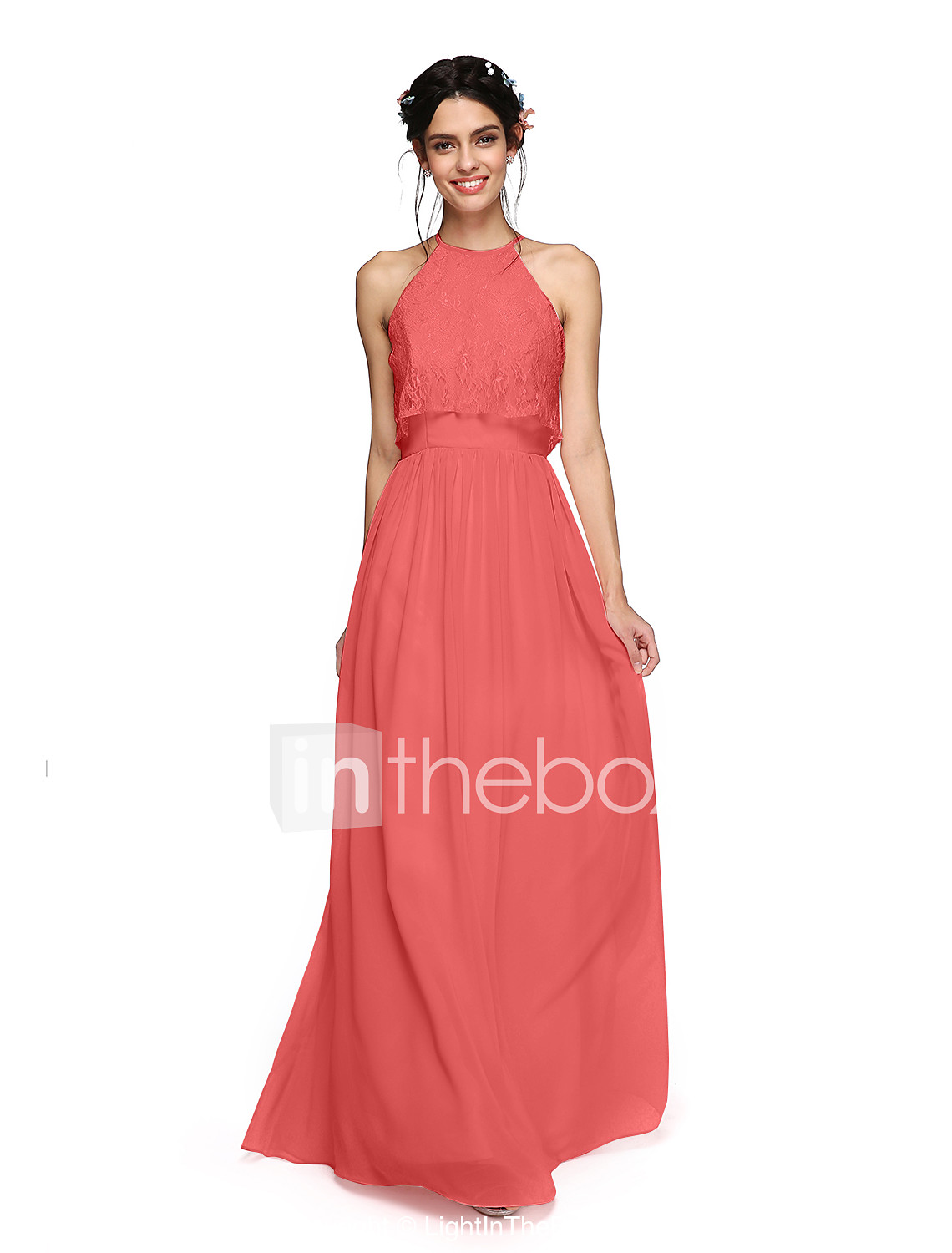 A line halter floor length chiffon bridesmaid dress with ruched a line halter floor length chiffon bridesmaid dress with ruched criss cross by lan ting ombrellifo Images