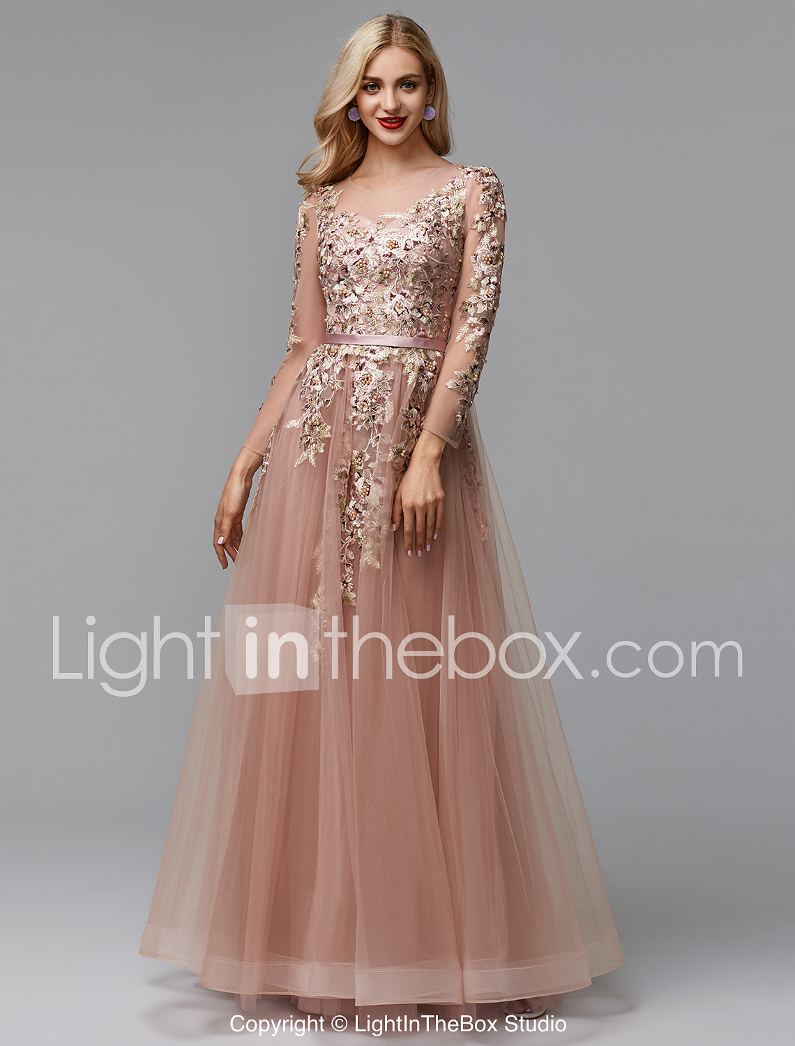 15fd4560f6d A-Line Illusion Neck Floor Length Lace   Tulle Prom   Formal Evening Dress  with. play video. Video by lightinthebox